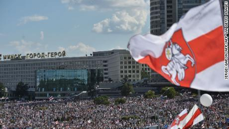 Opposition supporters at a larger demonstration in Minsk on Sunday.