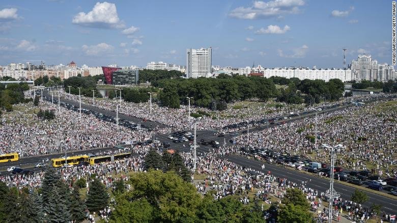 Belarus opposition supporters at a rally in central Minsk on Sunday.