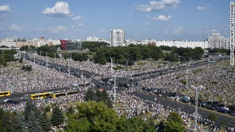 Thousands of Belarusian opposition supporters attend a rally in central Minsk on Sunday.