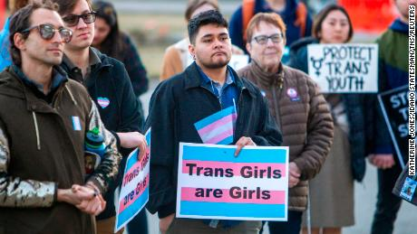 More than 100 people rallied at the Capitol in Boise, Idaho, in support of transgender students and athletes in March.