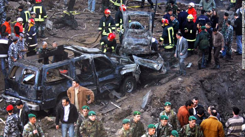 Vehicles destroyed in the bombing of Hariri's armed motorcade on February 14, 2005, in Beirut, Lebanon.
