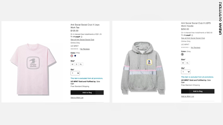 The USPS sweatshirt and t-shirt on the Urban Outfitters website before the listings were taken down