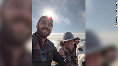 Stefanie and Duane Lindsay with their dog Roo at Bodega Bay, just hours before the car crash.