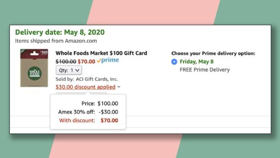 Get 30% off your grocery bill by buying a Whole Foods gift card at Amazon with this promotion.