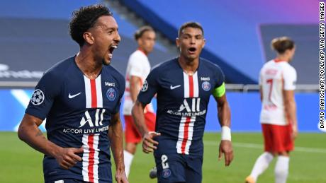 Paris Saint-Germain defender Marquinhos celebrates after opening the scoring goal for the French club.