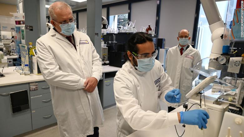 Australian Prime Minister Scott Morrison tours the AstraZeneca laboratories in Sydney, Australia, on August 19, 2020.