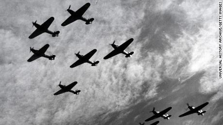 Hawker Hurricanes of RAF Fighter Command, flying in formation during the Battle of Britain in 1940.