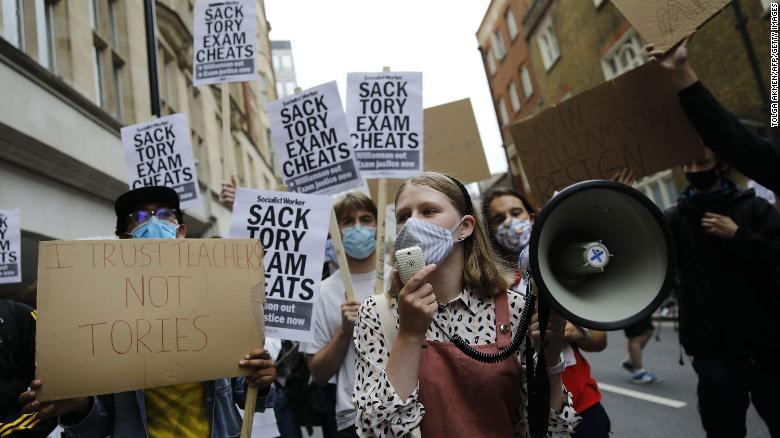 Students demonstrate outside the Department for Education in central London on August 14.
