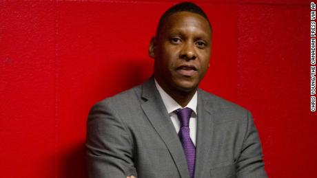 Ujiri stands in the tunnel before the Raptors' game against the New Orleans Pelicans.