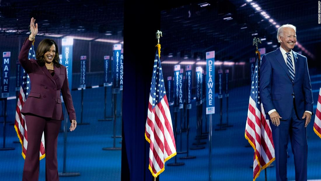 Kamala Harris and Joe Biden accepting the Democratic nomination