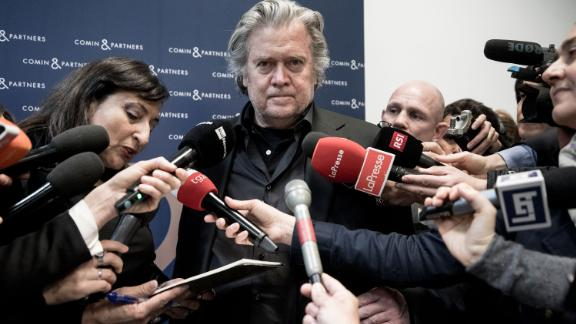 Steve Bannon, the former executive chairman of right-wing outlet Breitbart News and former adviser to President Donald Trump, talks to the press during a March 2019 event in Rome, Italy.