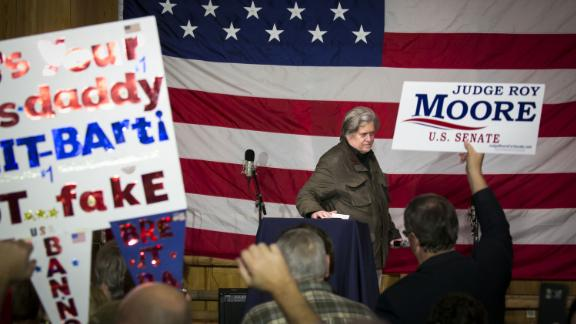Bannon pauses while speaking during a campaign rally for Roy Moore, Republican candidate for US Senate, in Fairhope, Alabama, in December 2017. Democrat Doug Jones defeated Moore.