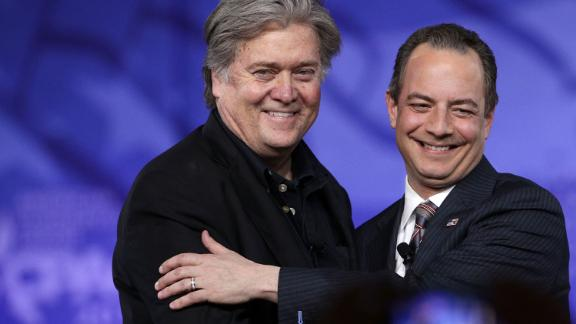Bannon and former White House Chief of Staff Reince Priebus arrive on stage during the Conservative Political Action Conference in February 2017.