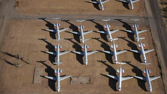 Decommissioned and suspended American Airlines commercial aircrafts are seen stored in Pinal Airpark on May 16, 2020 in Marana, Arizona.  Pinal Airpark is the largest commercial aircraft storage facility in the world, currently holding increased numbers of aircraft in response to the coronavirus COVID-19 pandemic.   (Photo by Christian Petersen/Getty Images)
