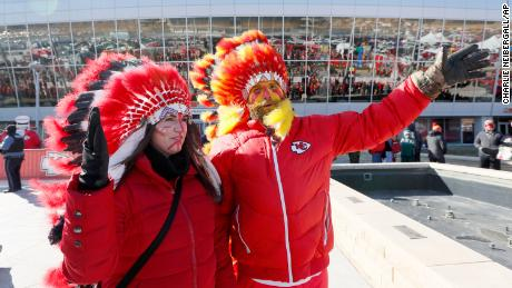 Many Kansas City Chiefs fans have worn Native American headdresses and face paint.