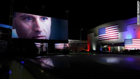 An image of Beau Biden, son of Democratic presidential candidate former Vice President Joe Biden, is shown outside the venue where Joe Biden will speak later tonight, during the final day of the Democratic National Convention, Thursday, Aug. 20, 2020, at the Chase Center in Wilmington, Del. (AP Photo/Carolyn Kaster)