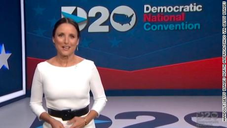 In this screenshot from the DNCC's livestream of the 2020 Democratic National Convention, actress Julia Louis-Dreyfus hosts the virtual convention on August 20, 2020.