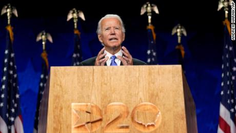 Democratic presidential candidate Joe Biden speaks at the Democratic National Convention August 20 in Wilmington, Delaware.
