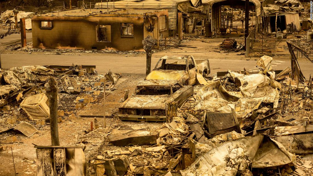 Scorched homes and vehicles are seen in the Spanish Flat Mobile Villa in Napa County, California, on August 20.