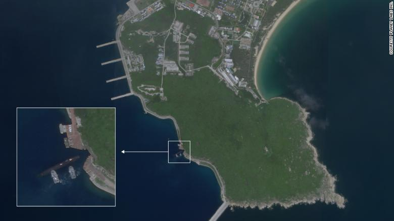 Satellite image of Aug. 18, 2020, appears to show a Chinese submarine using an underground base on Hainan Island on the South China Sea.