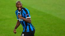 Inter Milan forward Romelu Lukaku celebrates scoring the opening goal.