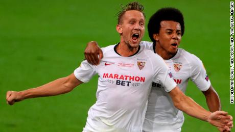 Luuk De Jong struck twice in the first half to give Sevilla the lead.