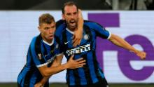 Inter's Diego Godin celebrates his goal that drew the two sides level in the first half.