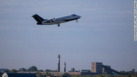 An air ambulance carrying Russian opposition leader Alexey Navalny departs the Siberian city of Omsk on Augus 22.