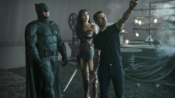 Ben Affleck, Gal Gadot and director Zack Snyder on the set of 'Justice League.'