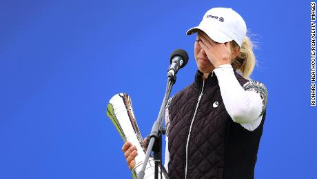 Sophia Popov of Germany cries with happiness after winning the 2020 British Open in Troon, Scotland, on Sunday, August 23.