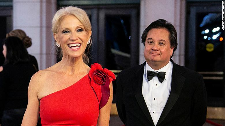 White House counselor Kellyanne Conway and her husband George Conway arrive for a dinner in Washington, DC on January 19, 2017.