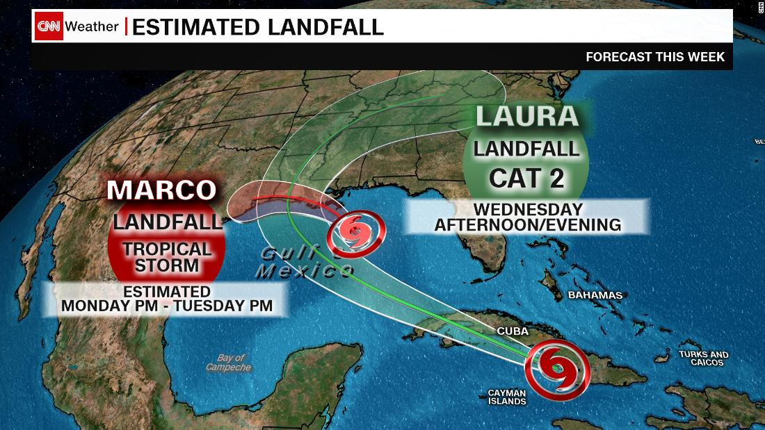 A weakened Tropical Storm Marco and a strengthening Tropical Storm Laura are heading for the Gulf Coast – CNN