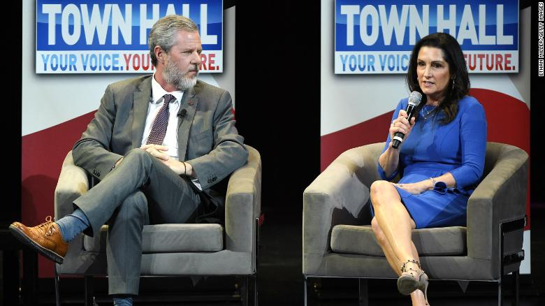 Jerry Falwell Jr. and his wife Becki Falwell speak during a town hall meeting on the opioid crisis in March 2019 in Las Vegas, Nevada.