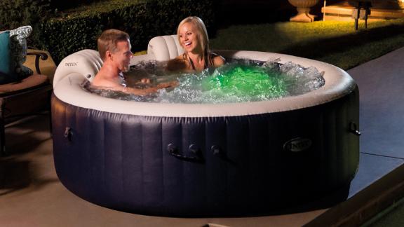 Intex PureSpa Plus Round 6-Person Portable Inflatable Hot Tub Spa