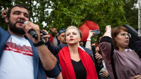 Opposition figure Maria Kolesnikova at an anti-government demonstration on August 23, 2020 in Minsk, Belarus