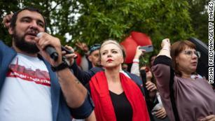 Opposition leader Maria Kolesnikova at an anti-government demonstration on August 23, 2020 in Minsk, Belarus.
