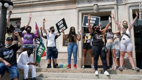 A small group of Black Lives Matter protesters held a rally on the steps of the Kenosha County courthouse Monday, Aug. 24, 2020, in Kenosha, Wisconsin, where police shot Jacob Blake Sunday evening.