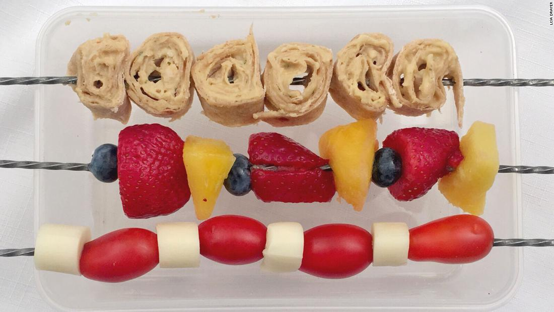 "Your kids will also enjoy making these kabobs for <a href=""http://www.lisadrayer.com/kids-in-the-kitchen-lunch-on-a-stick/"" target=""_blank"">lunch on a stick</a>. From top: Hummus roll-up, fruit medley, and cheese and tomato."