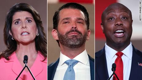From left, Nikki Haley, Donald Trump Jr., Sen. Tim Scott