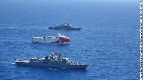 Turkey's Oruc Reis seismic vessel, escorted by Turkish navy, in the Eastern Mediterranean on Aug. 20, 2020.