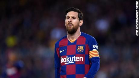 Messi looks on during the Liga match between  Barcelona and Real Sociedad at Camp Nou on March 07, 2020 in Barcelona, Spain.