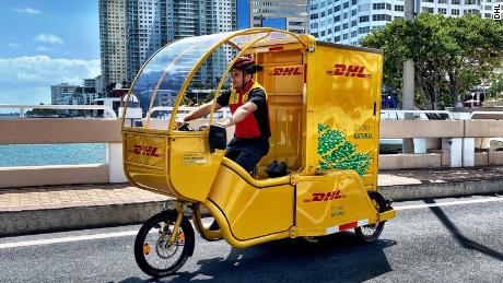 DHL is testing deliveries with cargo bikes in downtown Miami, Florida.