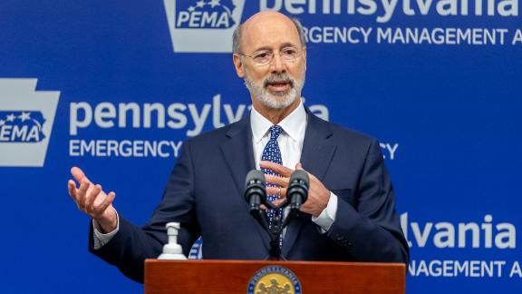 Pennsylvania Gov. Tom Wolf meets with the media at The Pennsylvania Emergency Management Agency on Tuesday.