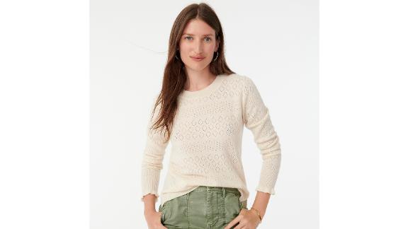 Cashmere Crewneck Sweater With Pointelle Stitch