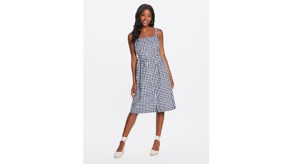 Gingham Button-Front Apron Dress