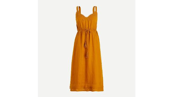 Linen Drawstring Dress With Embroidery