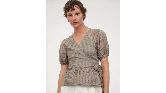 Puff-Sleeved Wrapover Blouse