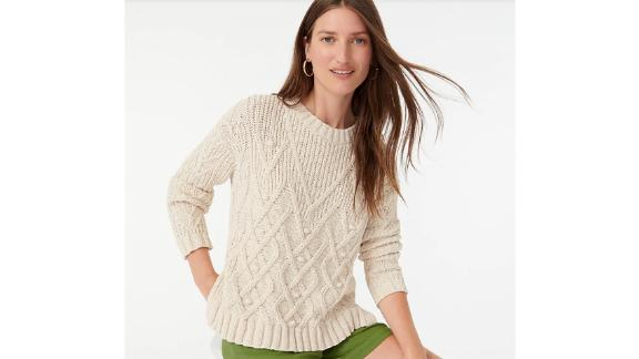 Cotton Cableknit Pointelle Sweater