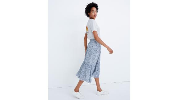 Tiered Peasant Midi Skirt in Climbing Floral