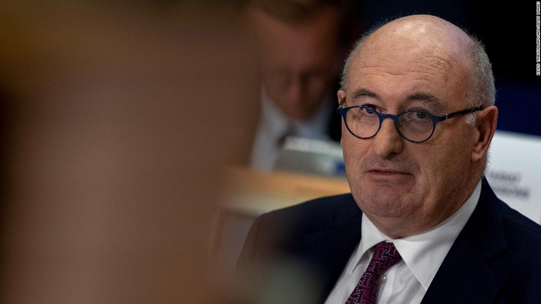 EU commissioner for Trade Phil Hogan answers questions during his hearing at the European Parliament in Brussels on September 30